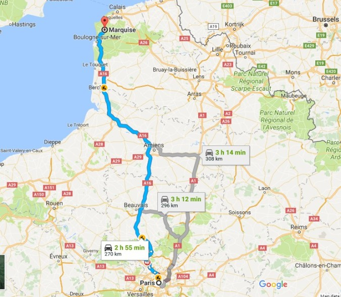 Paris to Calais Map